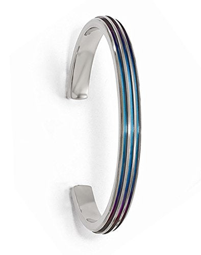 Radiance Collection Gray Titanium Triple Groove Multi-Color Anodized Cuff Bangle Bracelet