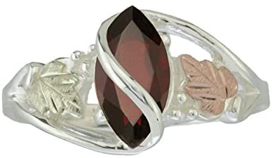 The Men's Jewelry Store (for HER) Garnet Marquise Ring, Sterling Silver, 12k Green and Rose Gold Black Hills Gold Motif, Size 11.25