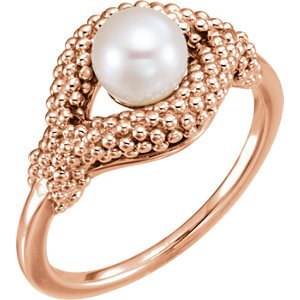 White Freshwater Cultured Pearl Beaded Ring, 14k Rose Gold (6-6.5MM)