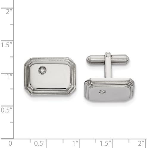 Stainless Steel CZ Cuff Links, 18.77MMX17.52MM