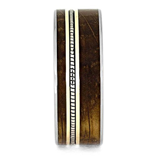 The Men's Jewelry Store (Unisex Jewelry) Whiskey Barrel Oak Wood, Cello String, 10k Yellow Gold 8mm Titanium Comfort-Fit Band, Size 10