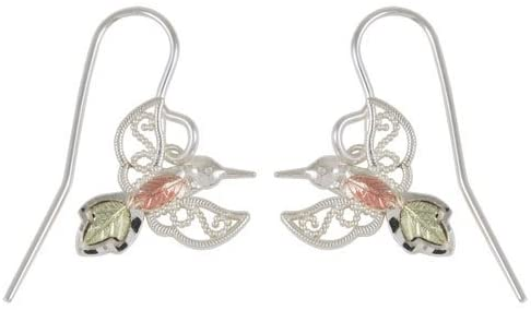 Hummingbird Silhouette Earrings, Sterling Silver, 12k Green and Rose Gold Black Hills Gold Motif
