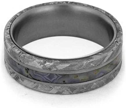His and Hers Gibeon Meteorite, Dino Bone 7mm Comfort-Fit Titanium Band and 10k White Gold Rough Diamond, Dinosaur Bone Ring Size, M15-F9