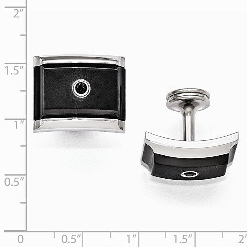 Slate Collection Grey, Black Titanium and Steel Black Spinel Sterling Silver Bezel Cuff Links, 17X21MM