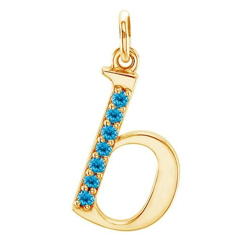 Swiss Blue Topaz Initial 'b' Lowercase Alphabet Letter 14k Yellow Gold Pendant
