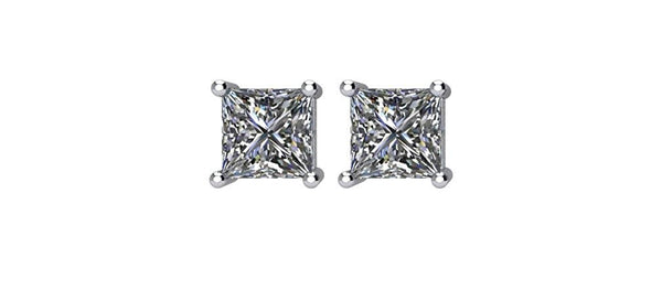 Princess-Cut Diamond Stud Earrings, Rhodium Plated 14k White Gold (.33 Cttw, Color GH, Clarity I1)