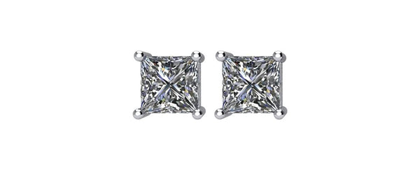 Princess-Cut Diamond Stud Earrings, Rhodium Plated 14k White Gold (.75 Cttw, Color GH, Clarity I1)