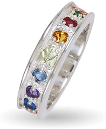 Sapphire, Amethyst, Aquamarine, Citrine, Garnet, Emerald Ring, Sterling Silver, 12k Green and Rose Gold Black Hills Gold Motif, Size 4