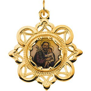 10k Yellow Gold St. Joseph Framed Enamel Pendant (25.75x25.75 MM)