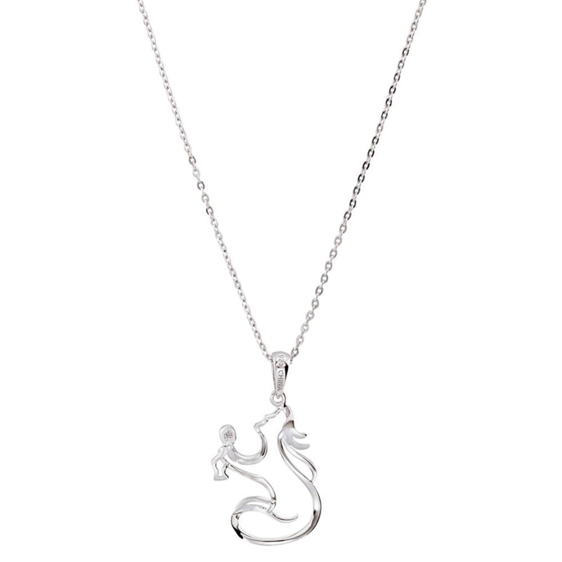Rhodium Plated Sterling Silver Mother and Child 'Sweet Baby' Necklace, 18'