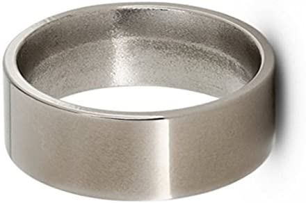 Flat Profile Solid Titanium 8mm Comfort-Fit Polished Band, Size 14