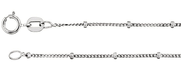 1mm Rhodium-Plated 14k White Gold Solid Beaded Curb Chain, 16""