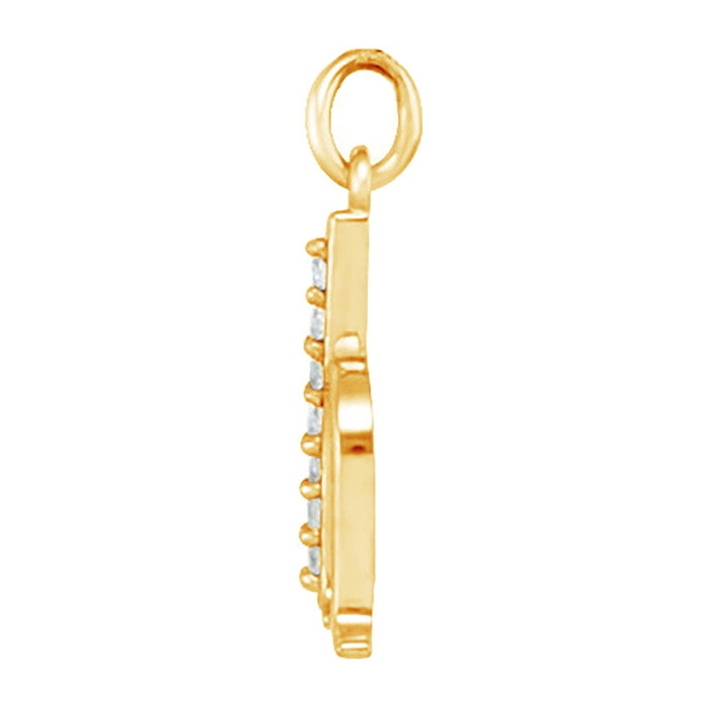 Diamond Initial 'h' Lowercase Alphabet Letter 14k Yellow Gold Pendant (.04 Cttw IJ Color, I2 Clarity)