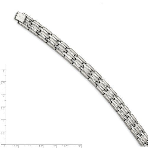 Men's Brushed and Polished Stainless Steel 11mm Bracelet, 8.75""