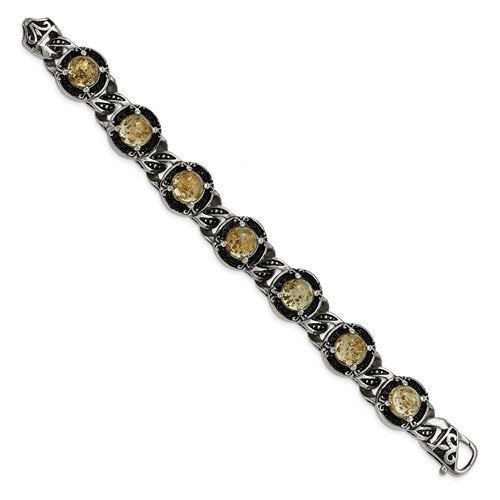 Men's Stainless Steel Antiqued Epoxy Resin with Gold Tin Bracelet, 9 ""