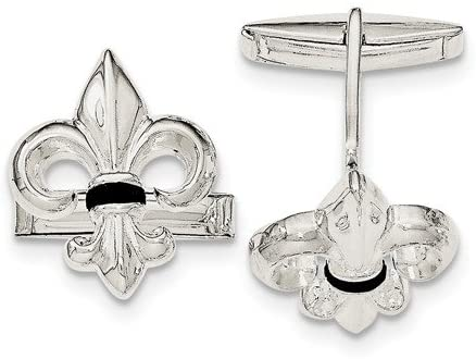 Sterling Silver Fleur De Lis with Onyx Cuff Links