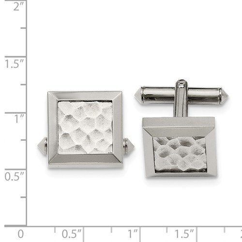 Grey Titanium Satin-Brushed Hammered Square Cuff Links, 16MM