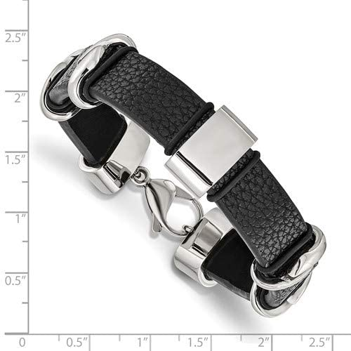 Men's Black Leather Stainless Steel lobster-Clasp Bracelet, 8.5 Inches