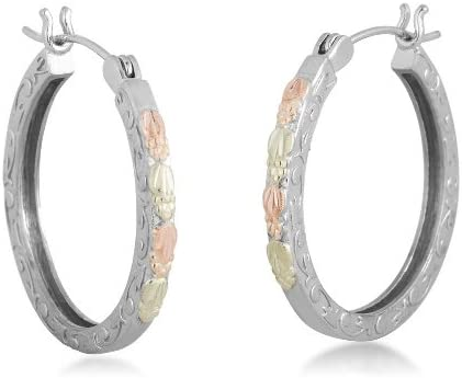Scrollwork Hoop Earrings, Sterling Silver, 12k Green and Rose Gold Black Hills Gold Motif