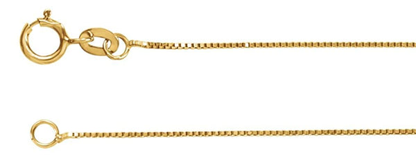 .55mm 14k Yellow Gold Solid Box Chain Bracelet, 7""