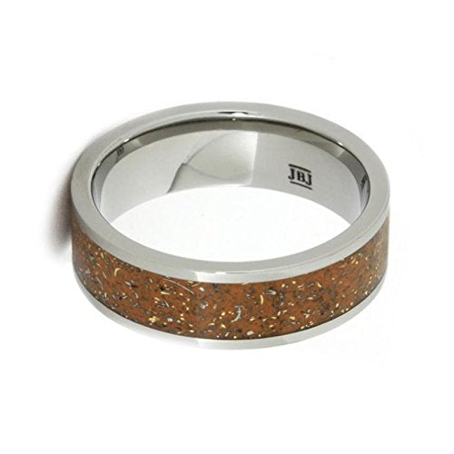 The Men's Jewelry Store (Unisex Jewelry) Orange Stardust with Meteorite and 14k Yellow Gold 7mm Comfort-Fit Titanium Ring