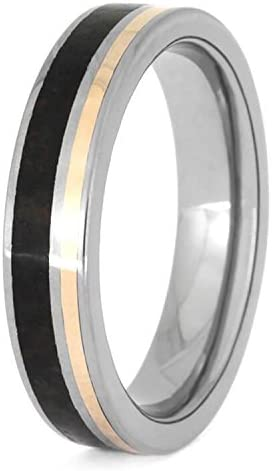 The Men's Jewelry Store (Unisex Jewelry) Dinosaur Bone, 14k Rose Gold Stripe 5mm Titanium Comfort-Fit Wedding Band, Size 16