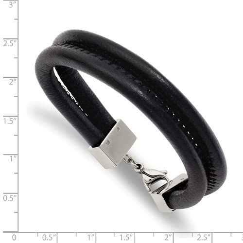 Men's Black Leather Double Row Stainless Steel Bracelet 8.5 Inches