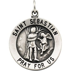 "Sterling Silver St. Sebastian Necklace, 18"" (18MM)"