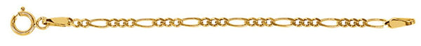 2.00mm 14k Yellow Gold Figaro Chain Necklace Extender or Safety Chain, 2.25""