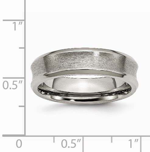 Titanium Satin Concave 6mm Comfort-Fit Band, Size 12.5