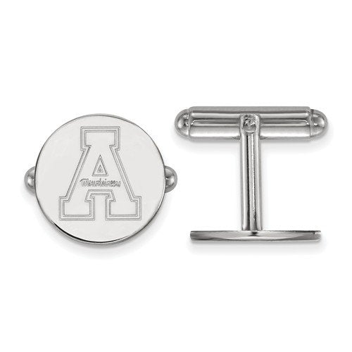 Rhodium-Plated Sterling Silver, Appalachian State University Round Cuff Links, 15MM