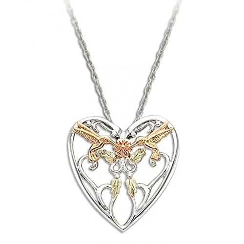 Heart with Hummingbird Pendant Necklace, Sterling Silver, 12k Green and Rose Gold Black Hills Gold Motif, 18""