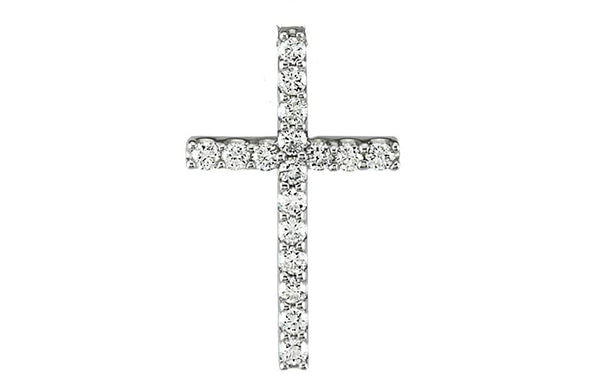 "Petite Platinum Diamond Cross Necklace, 18"" (1/6 Cttw.)"