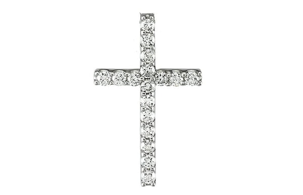 "Petite Platinum Diamond Cross Necklace, 16"" (.085 Cttw.)"