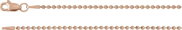 1.5mm 14k Rose Gold Bead Chain, 16""