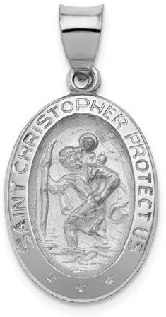 Rhodium-Plated 14k White Gold St. Christopher Medal Pendant (22X14MM)