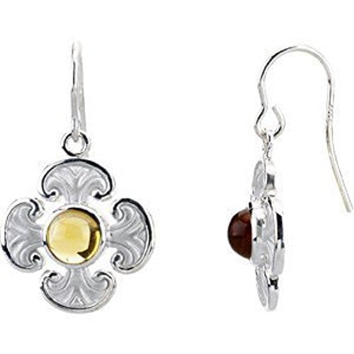 14k White Gold Genuine Citrine Maltese Cross Earrings