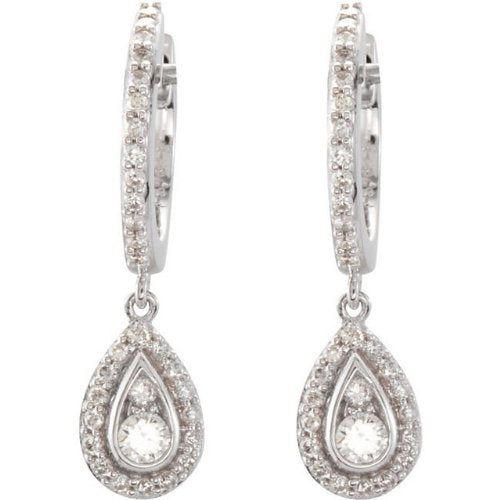 Diamond Halo-Style Hoop Earrings, 14k White Gold (1/2 Ctw, Color H-I, Clarity I1)