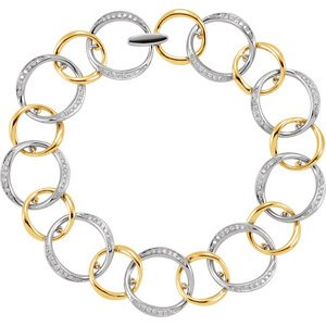 "Two-Tone Diamond Link Bracelet, 14k White and Yellow Gold, 8.25"" (.75 Cttw, HI Color, I1 Clarity)"