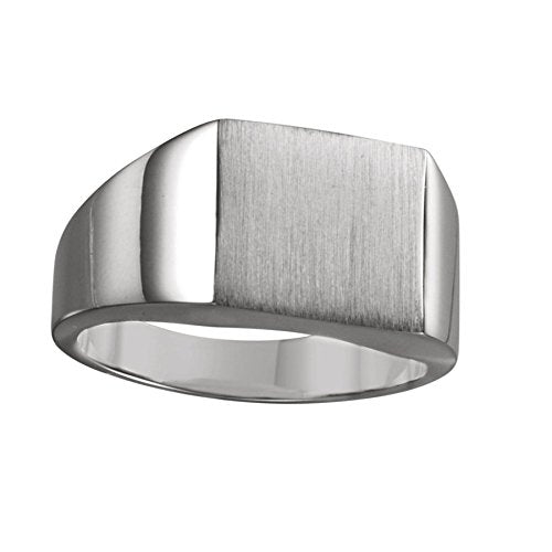 Men's Brushed Signet Ring, 18k X1 White Gold (16mm) Size 9.25