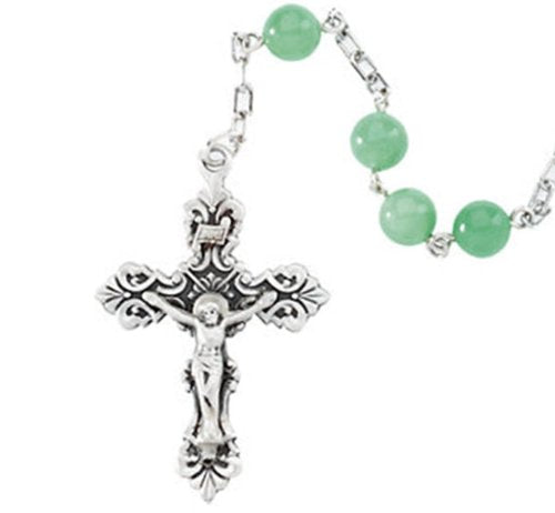 Green Jadeite Rosary Beads, Sterling Silver