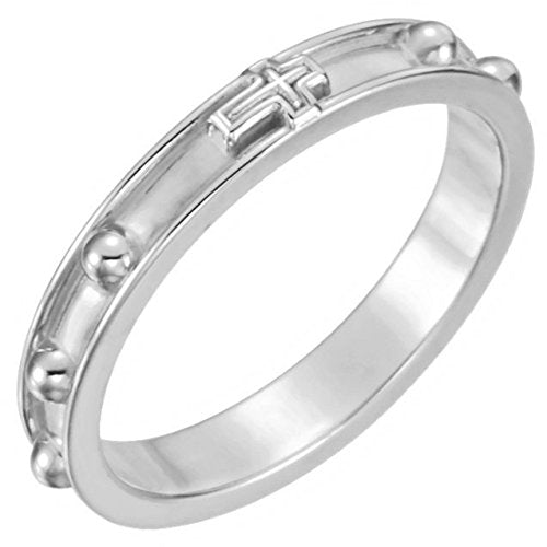 Rosary Ring, 3.25mm, 14k White Gold, Size 10