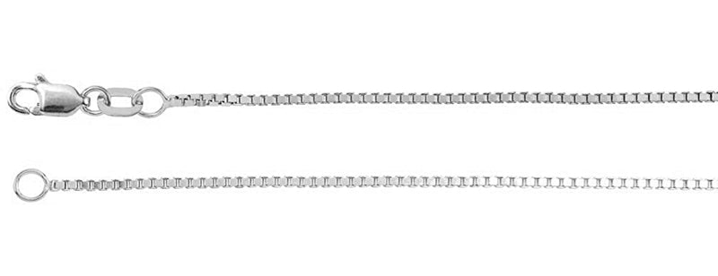1mm 14k White Gold Box Chain, 16""