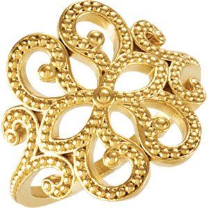 Womens 18k Yellow Gold Granulated Flower Ring, Size 7