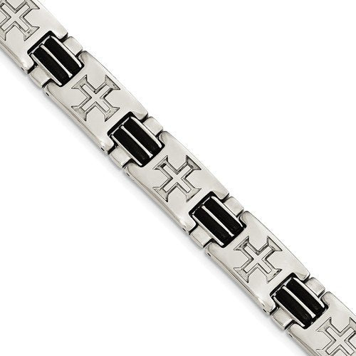 Men's Polished Stainless Steel Black Rubber Cross Adjustable Bracelet, 8.5""