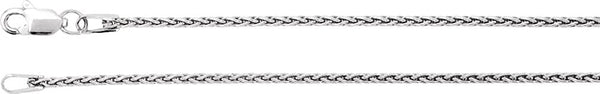1.25mm 14k White Gold Wheat Chain, 16""