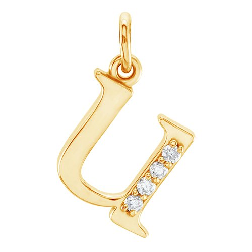 Diamond Initial 'u' Lowercase Alphabet Letter 14k Yellow Gold Pendant (.025 Ctw GHI, SI2-SI3)
