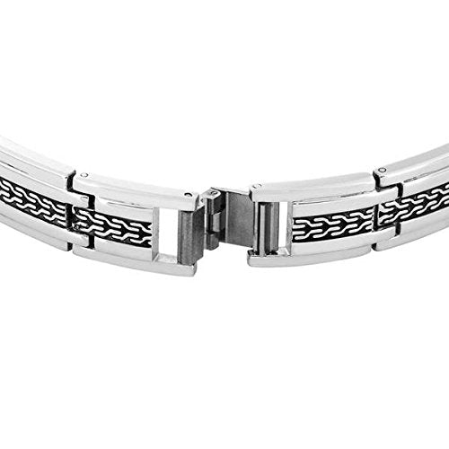 Men's Two-Tone, Antiquing Link Bracelet, Stainless Steel, 8.5?