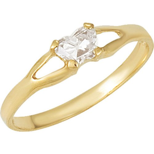 14k Yellow Gold February CZ Birthstone Ring, Size 3