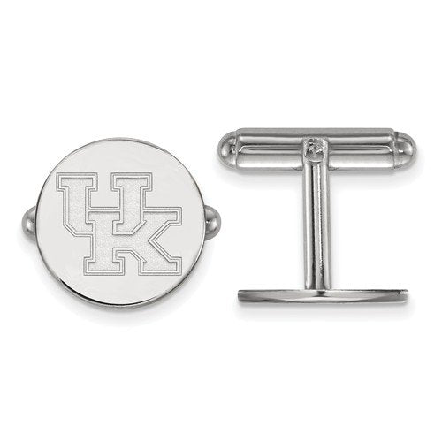 Rhodium-Plated Sterling Silver University Of Kentucky Round Cuff Links, 15MM